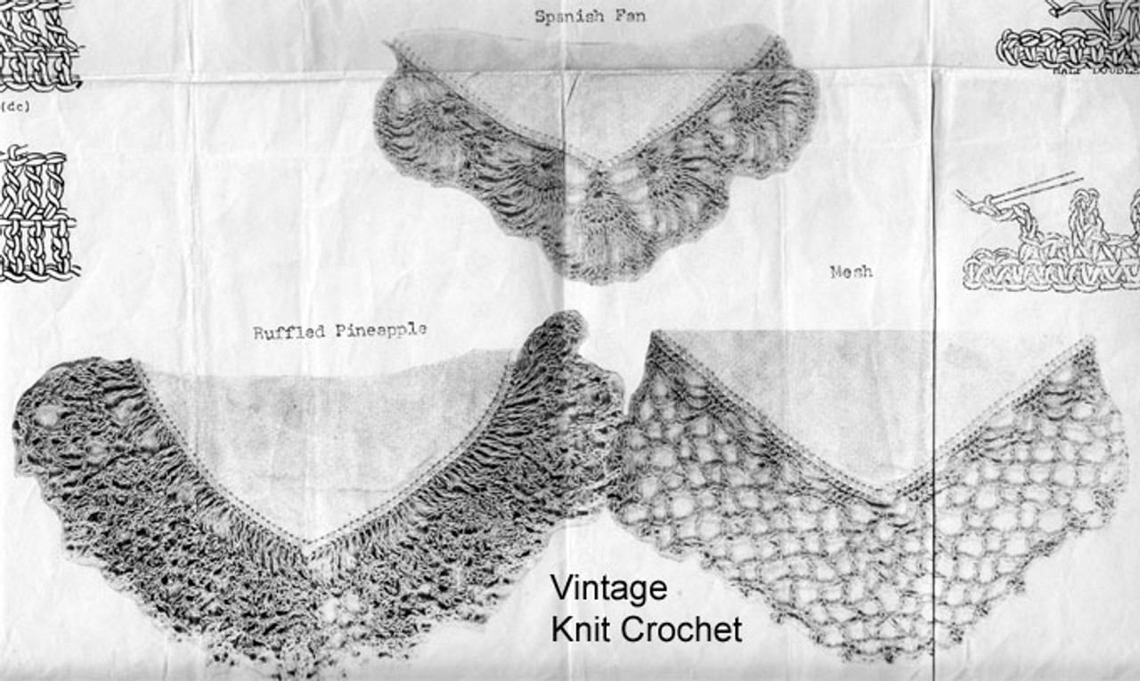 Three Edgings Crochet Illustration No E-895
