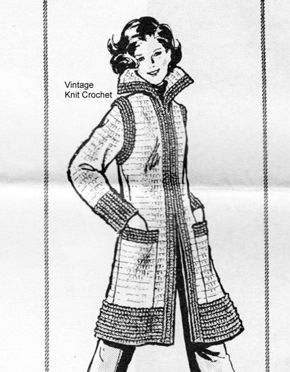 Crochet Coat Pattern, Flip Collar, Alice Brooks 7281