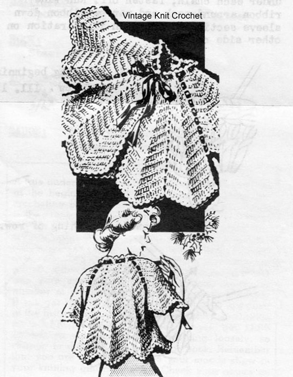 Vintage Crochet Bedjacket Pattern, Anne Cabot 5881