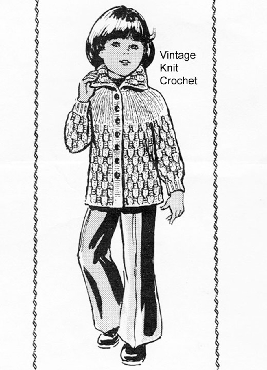 Childs Jacket Knitting Pattern, Alice Brooks 7334