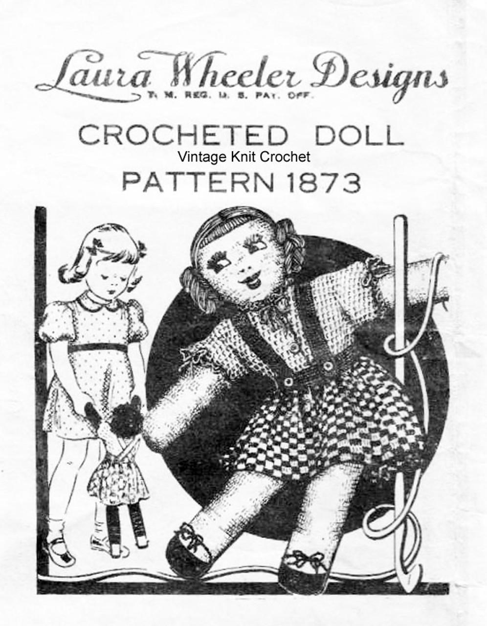 Vintage Crocheted Doll Pattern Design 1873
