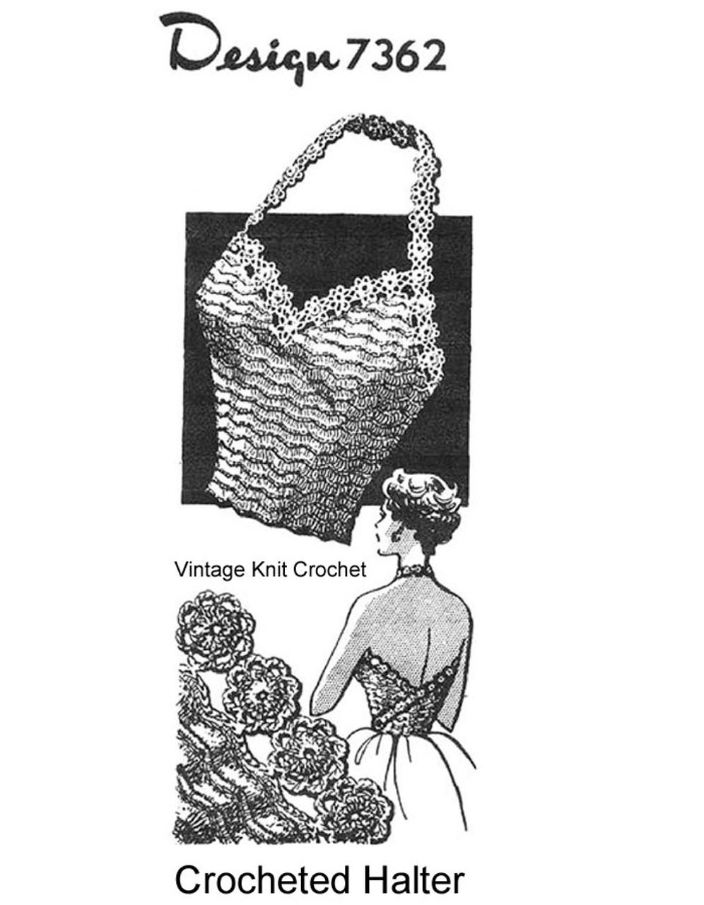Vintage Crochet Halter Top Pattern, Alice Brooks 7362