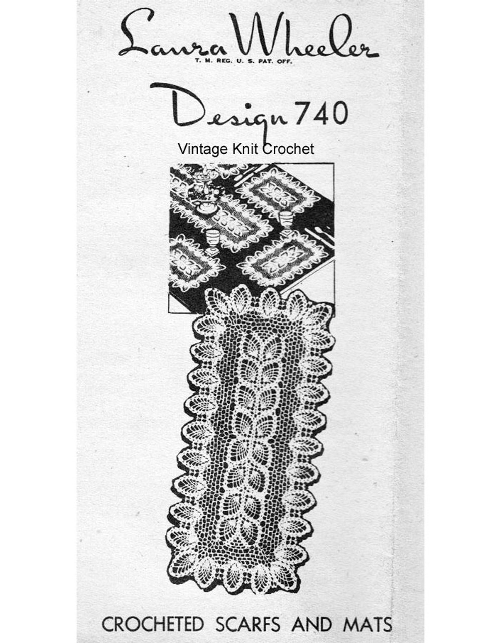 Crochet Pineapple Runner Mats Pattern Design 740