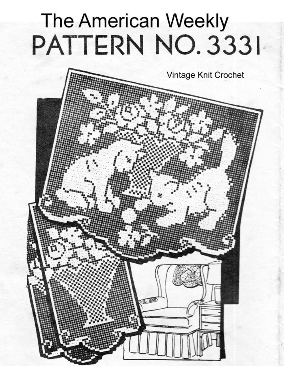 Kitten Filet Crochet Chair Doily Pattern No 3331