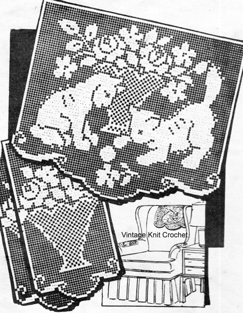 Kittens with Rose Bouquet in Filet Crochet, American Weekly 3331