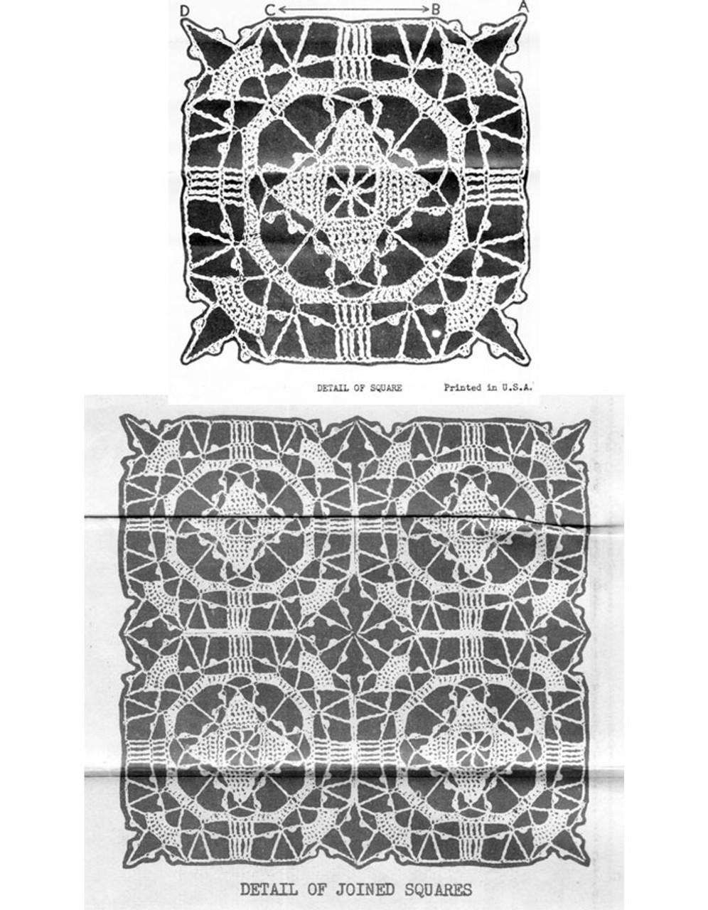 Crochet Tablecloth Square Pattern, Vintage 1939