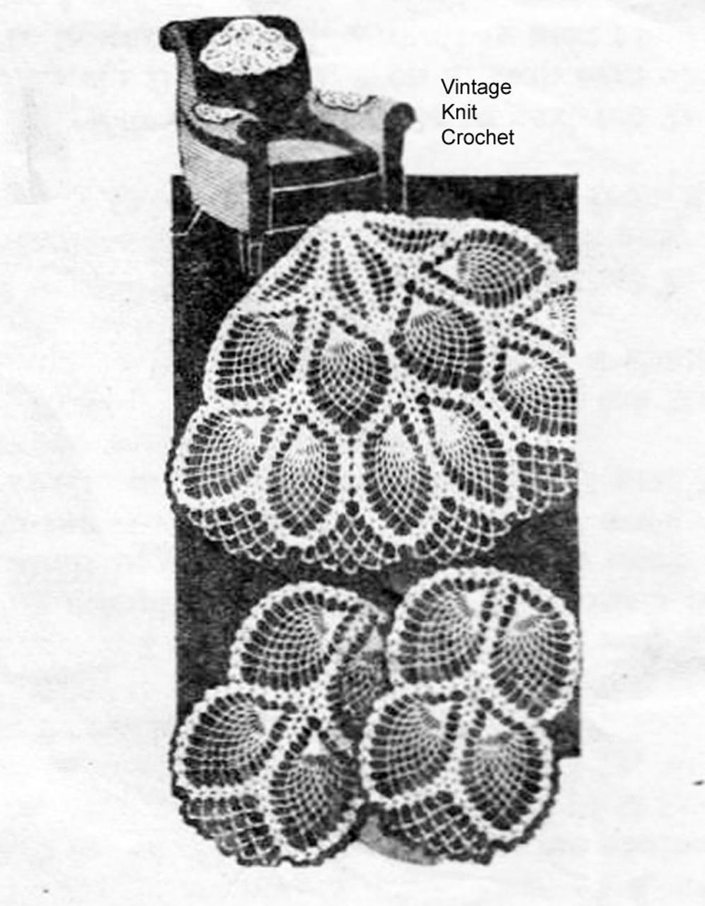 Vintage Crochet Pineapple Doily Set, Laura Wheeler 685