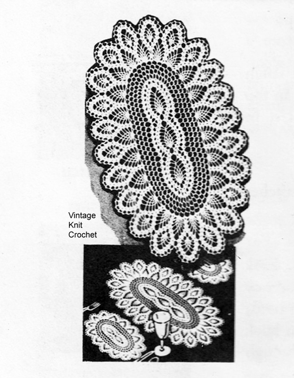 Oval Pineapple Crocheted Doilies Pattern No 3141