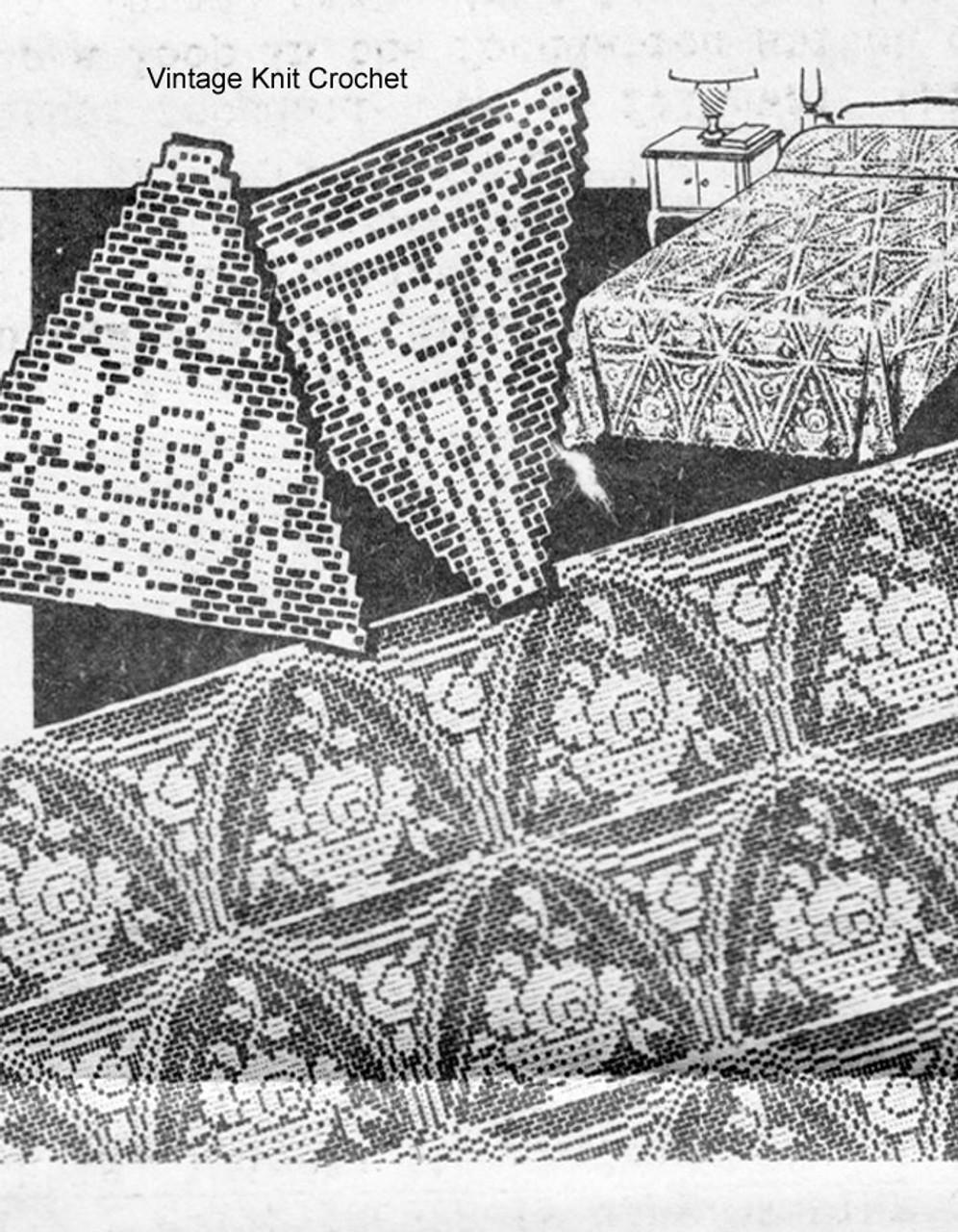 Filet Crochet Bedspread Pattern, Triangle Medallions No 6206