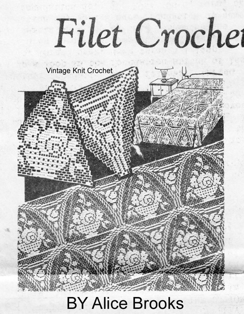 Filet Crochet Bedspread Pattern, Rose Triangles, Alice Brooks 6206