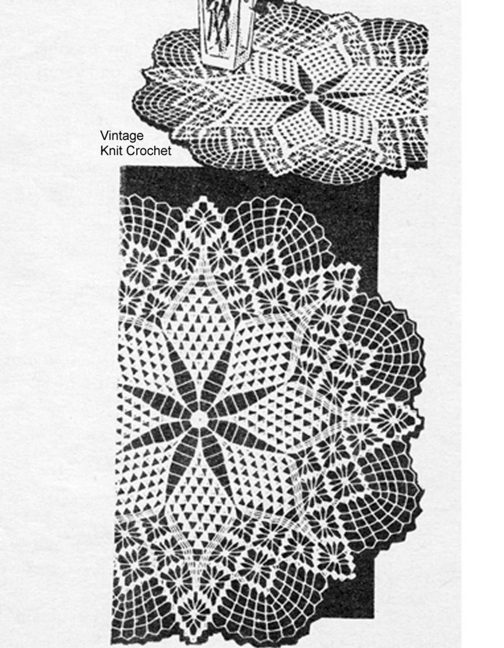 Large Small Crochet Star Doilies Pattern, Design 3132