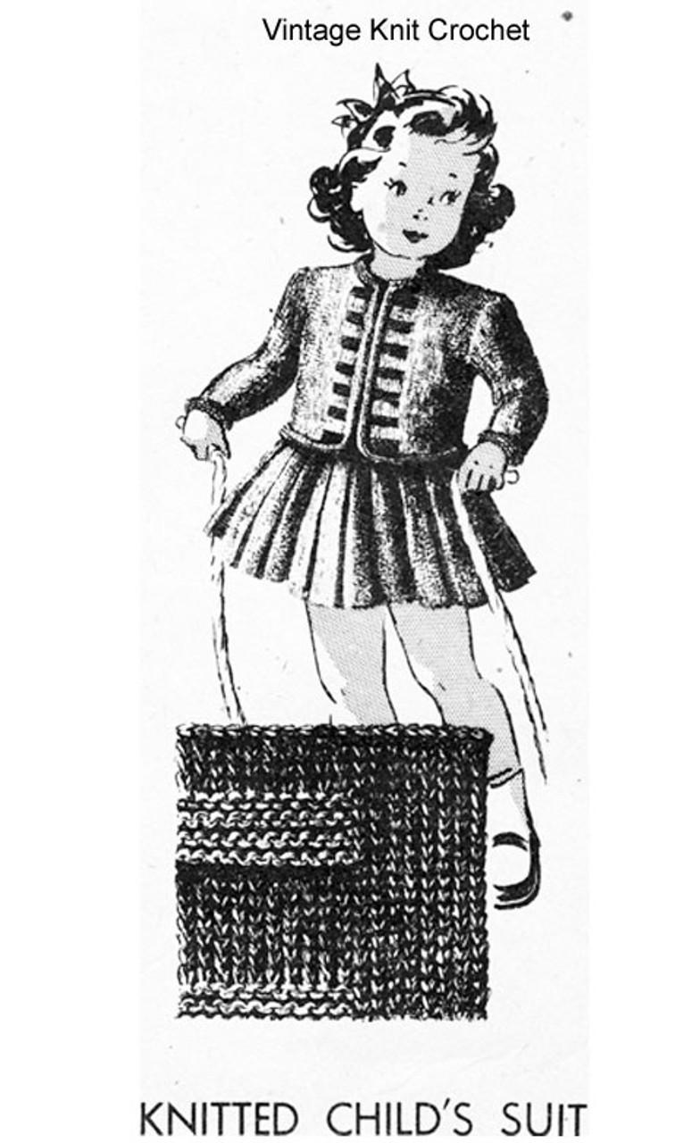 Vintage Girls Knitted Suit Pattern, Laura Wheeler 538