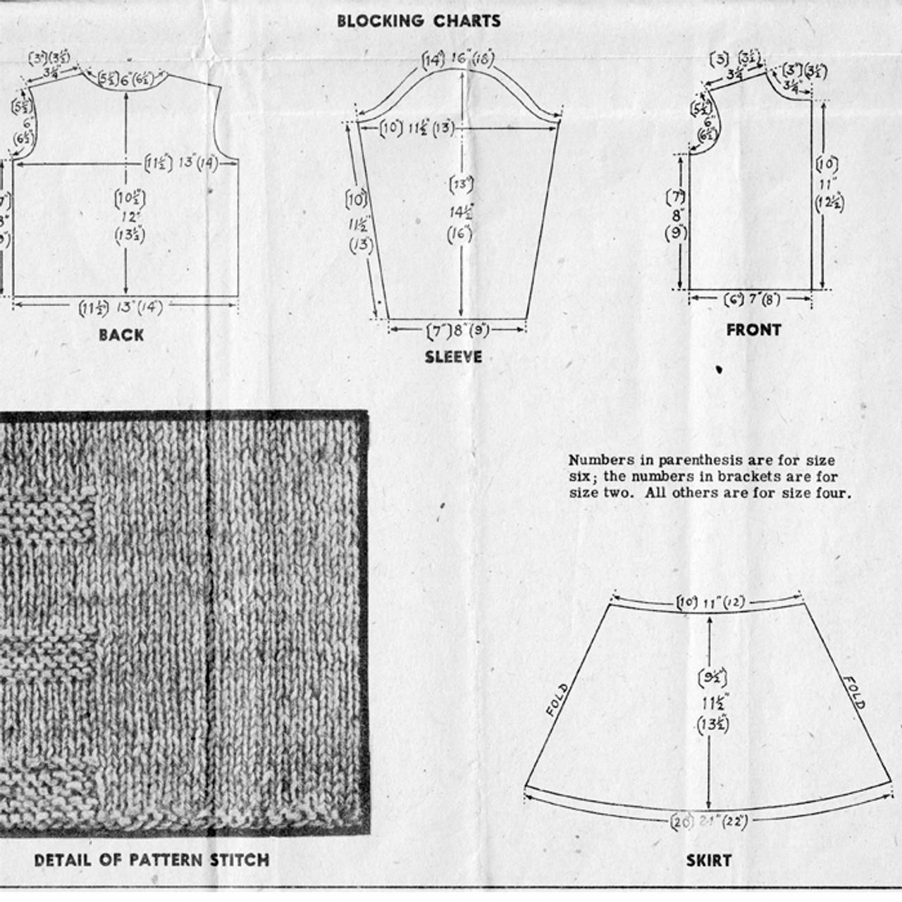Design 538, Girls Suit Layout Chart