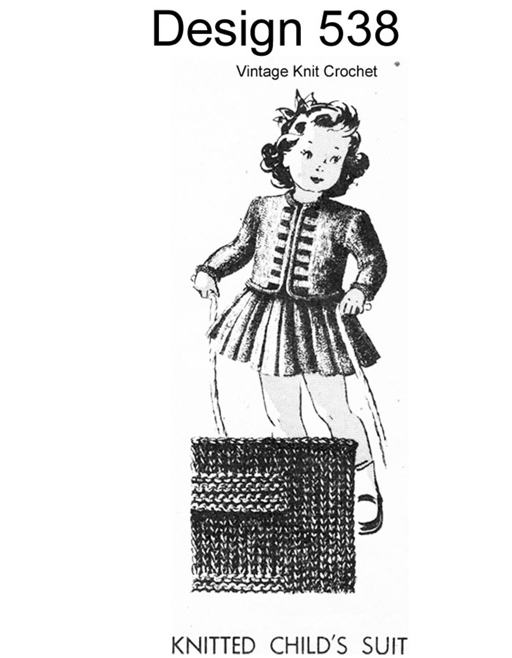 Girls Knitted Dress Pattern, Design 538
