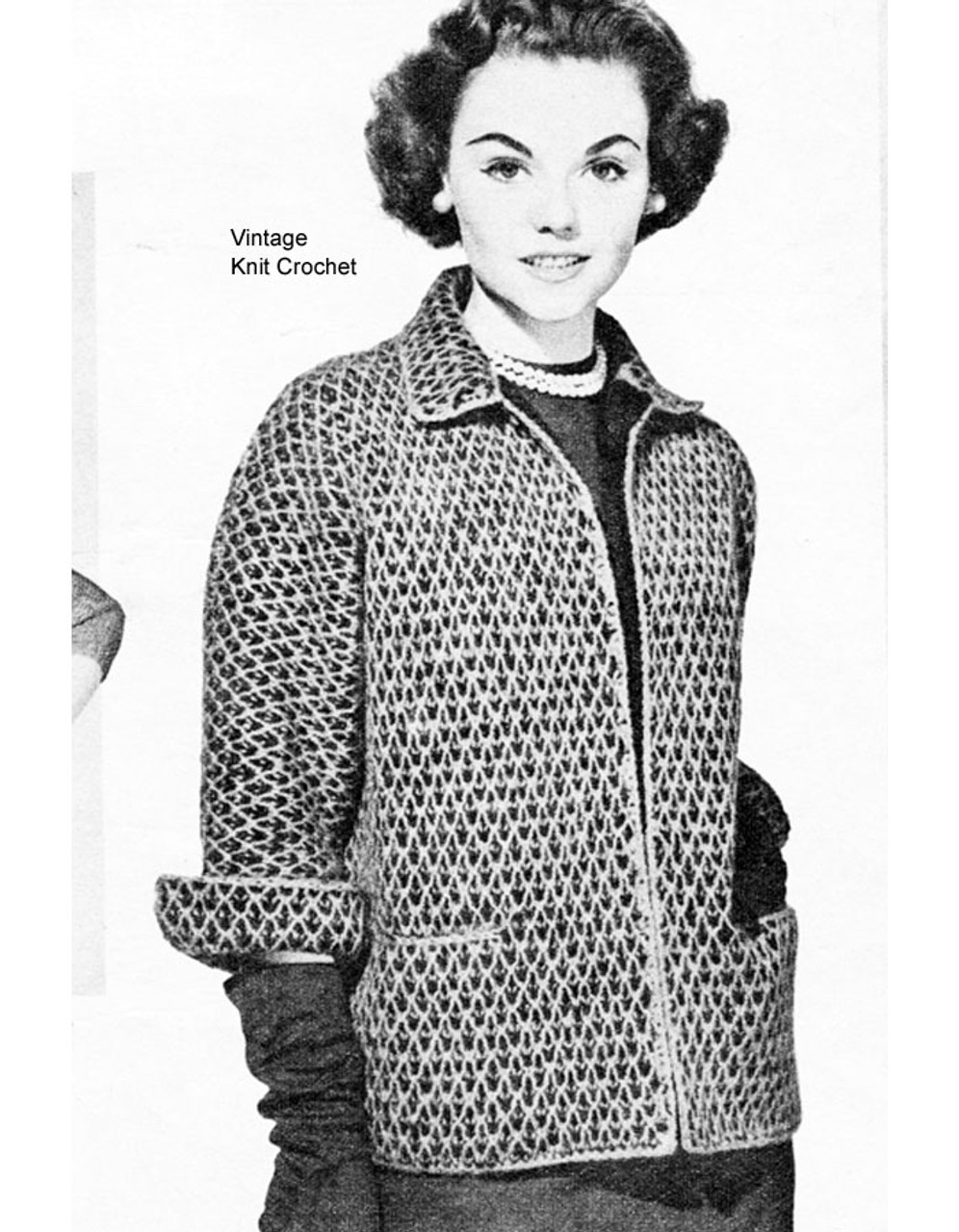 Two Toned Knitted Cardigan Jacket Pattern, Vintage 1951