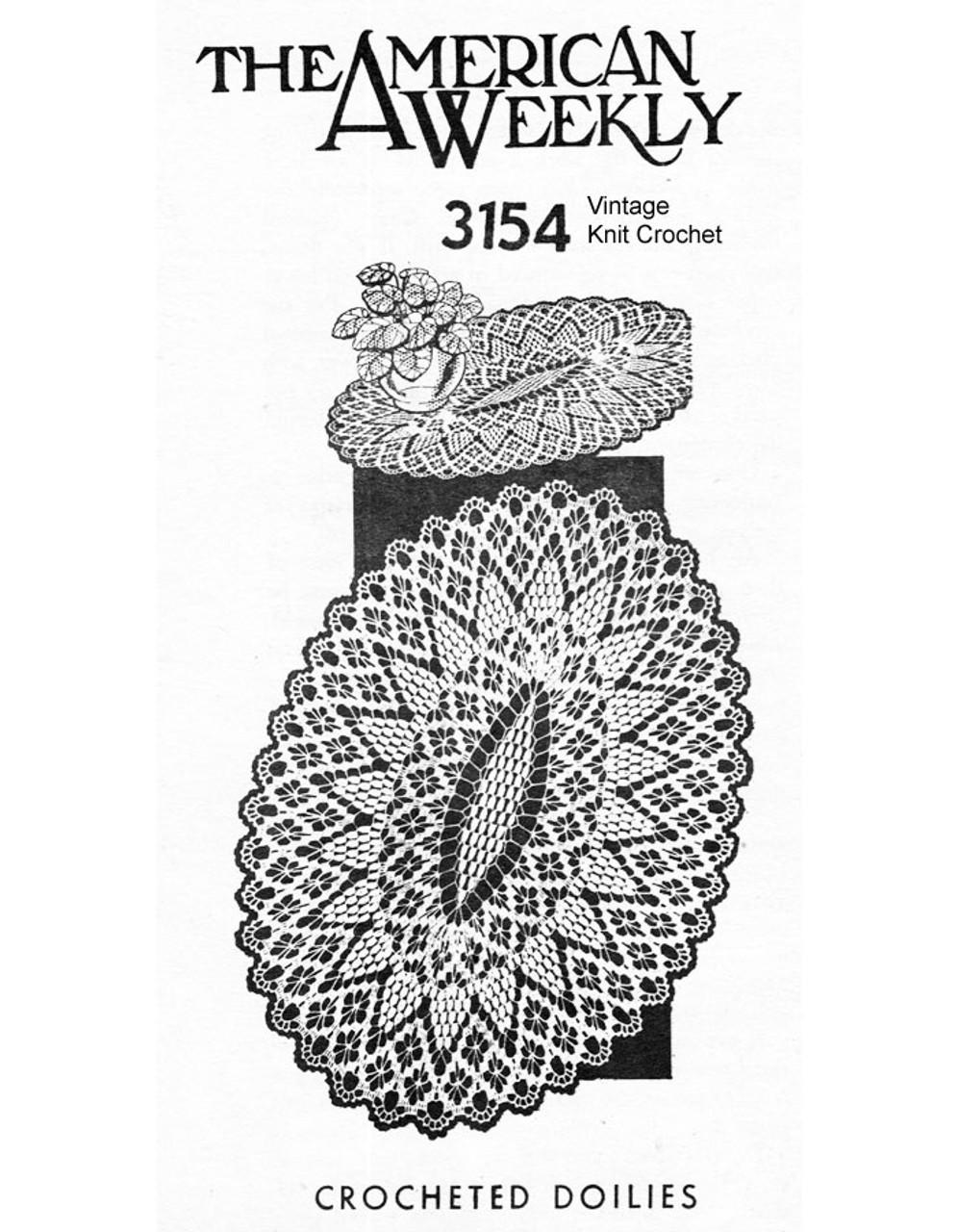Oval Spiderweb Crochet Doily Pattern No 3154