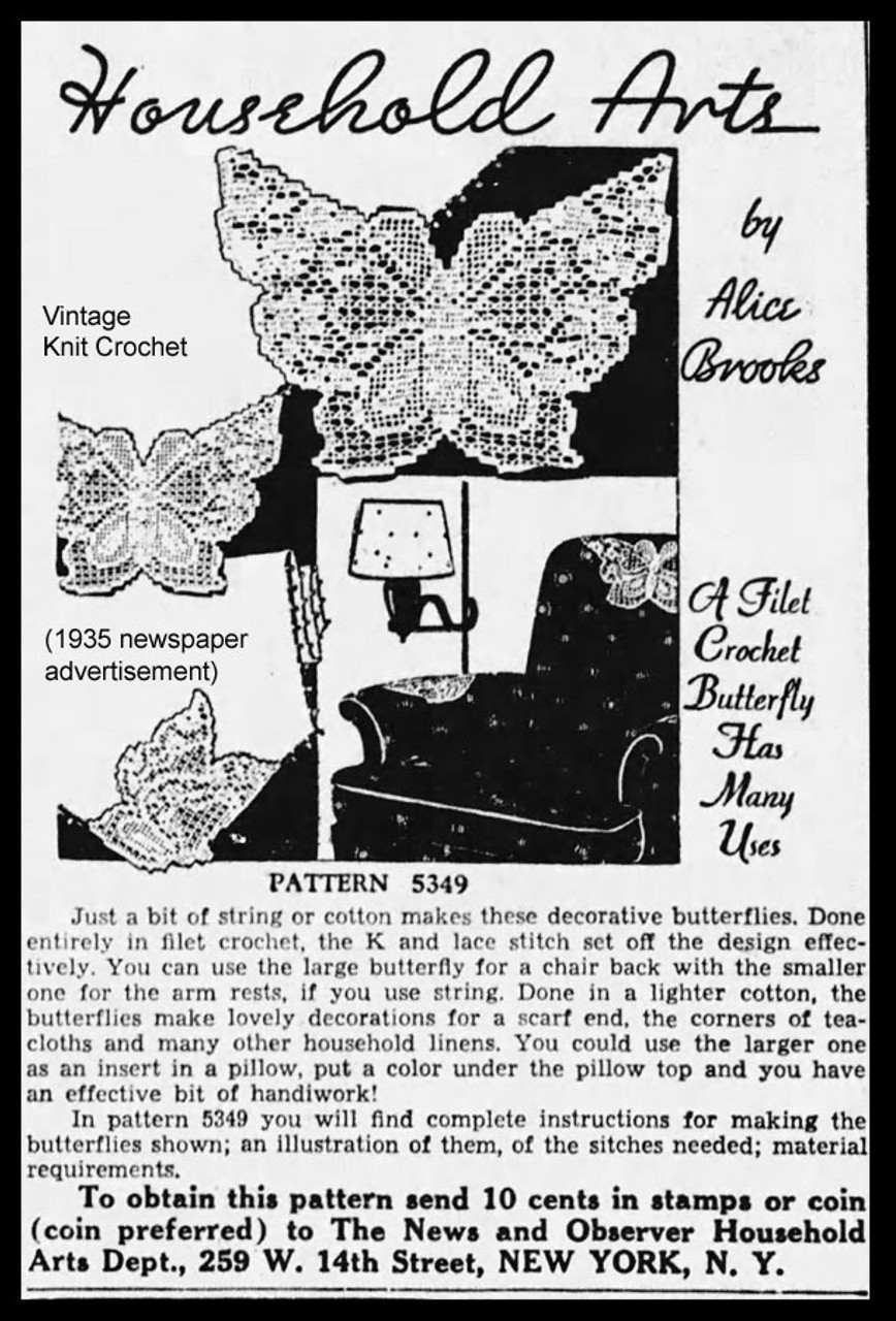 Filet Crochet Butterfly 1935 pattern advertisement for Design 5349