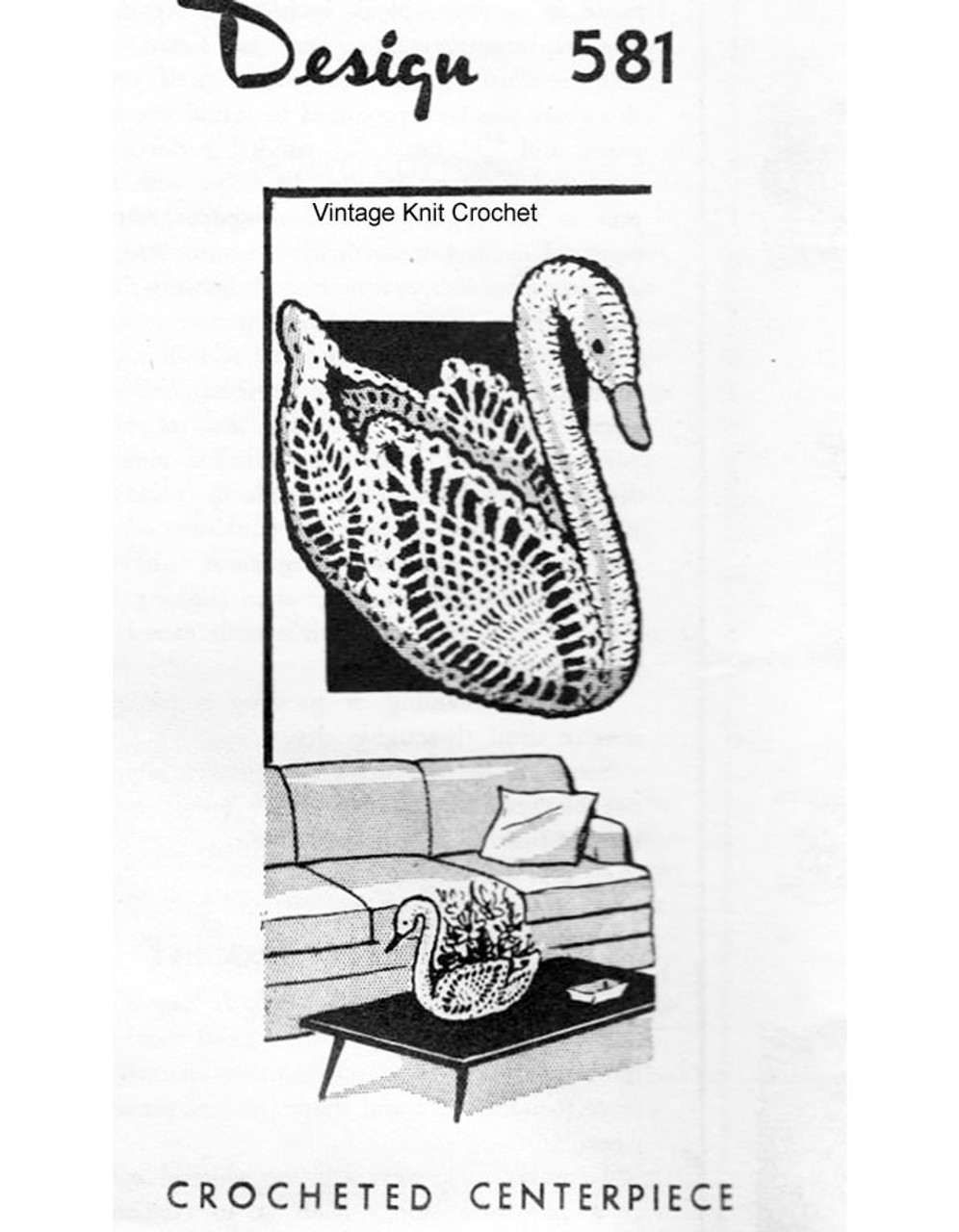 Crochet Swan Centerpiece Pattern, Laura Wheeler 581