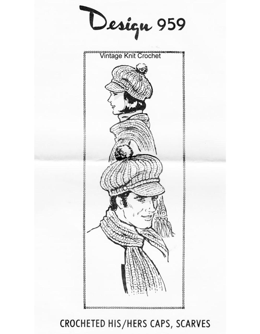 Mans Crocheted Visor Cap Scarf Pattern Design 959