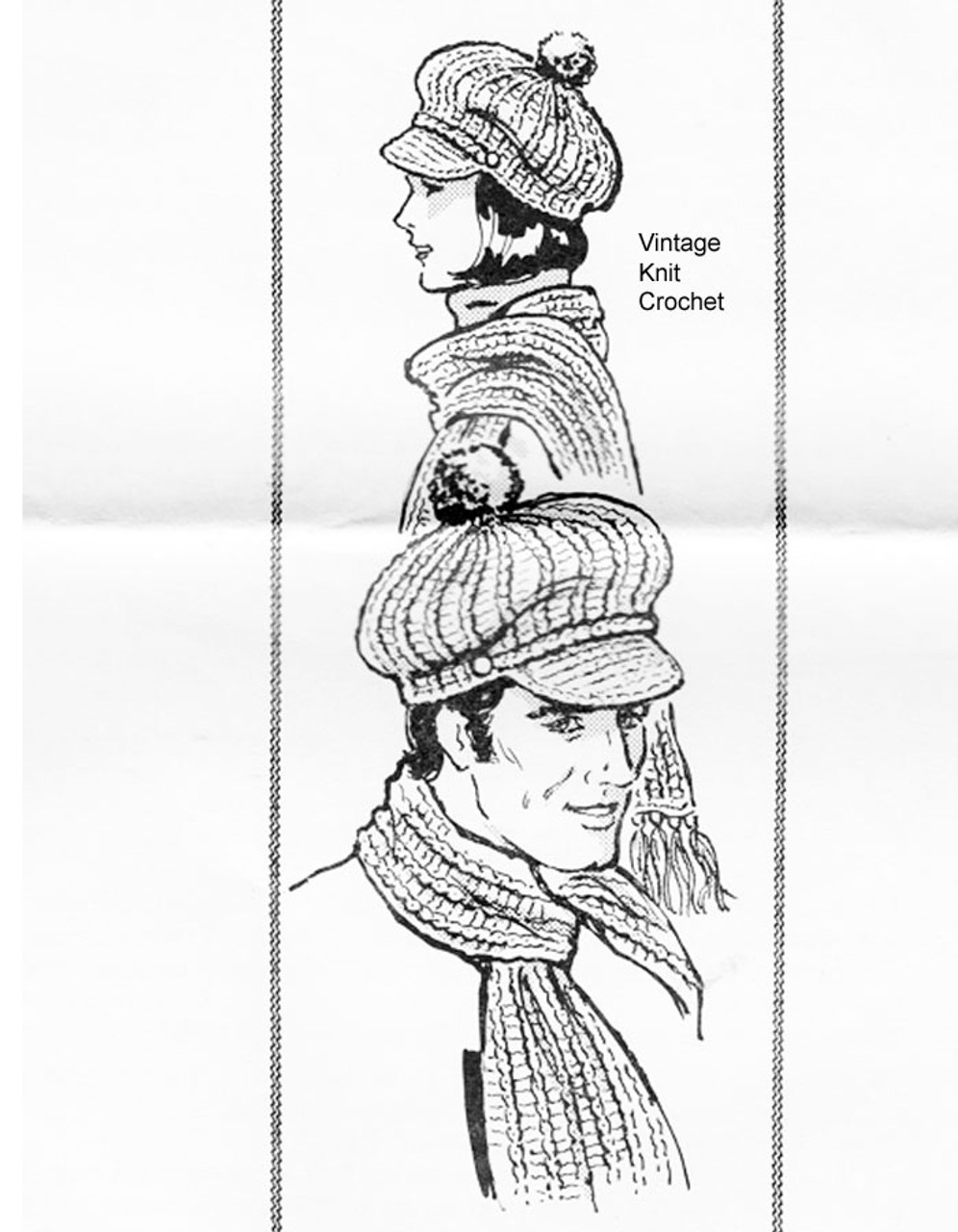 Mail Order Crochet Visor Pattern No 959, Matching Scarf