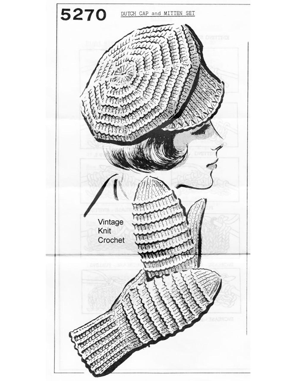 Dutch Cap Knitting Pattern, Mittens in Rib Stitch No 5270