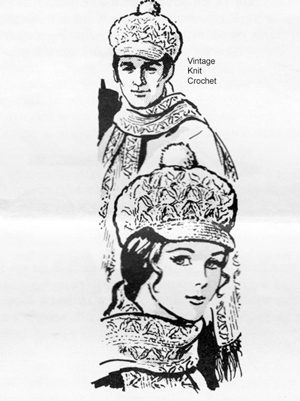 Girls Crochet Newsboy Hat Scarf Pattern, Mail Order 584