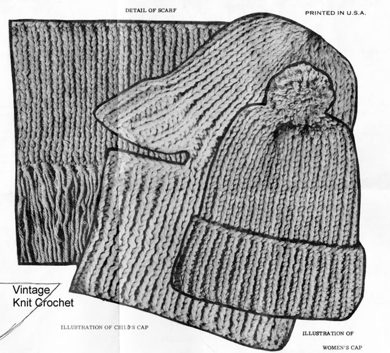 Knitted Rib Cap Pattern Stitch Illustration, Mail Order 7029