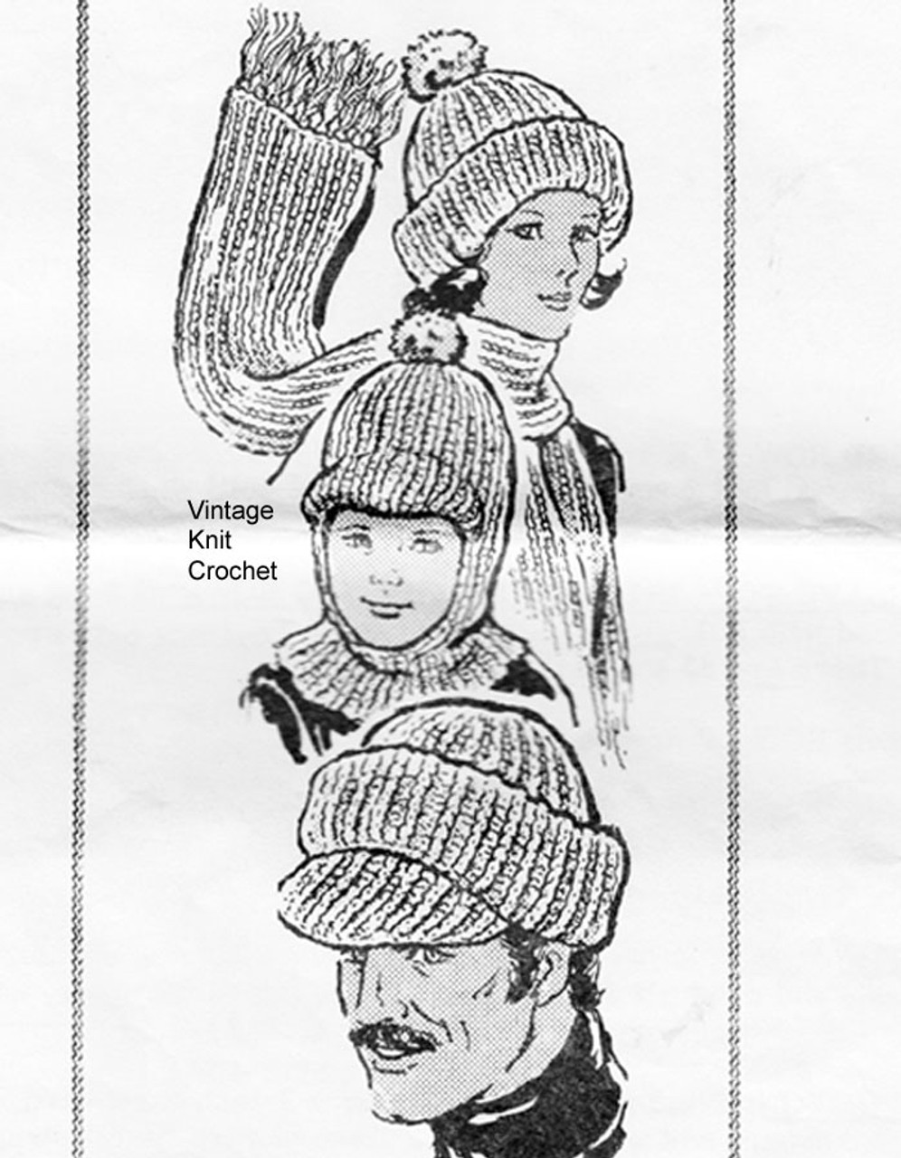 Childs Knitted Rib Cap Scarf Pattern, Alice Brooks 7029