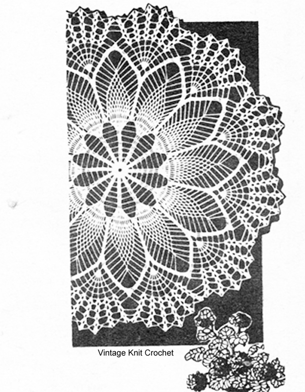 Pineapple Shell Centerpiece Doily Pattern, American Weekly 3144