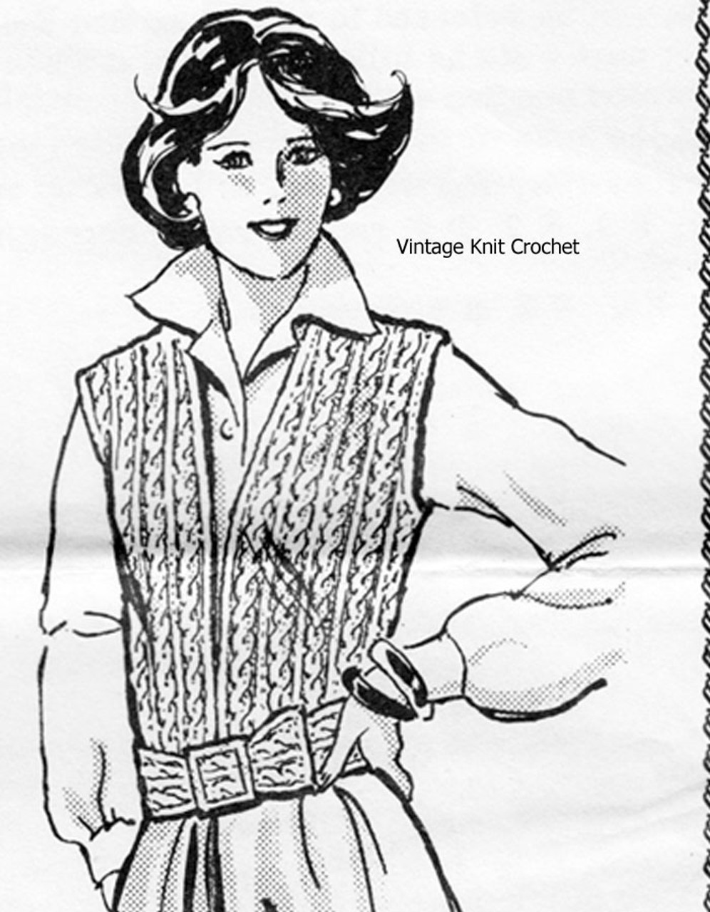 Mail Order Cable Vest Knitting Pattern Alice Brooks 7373