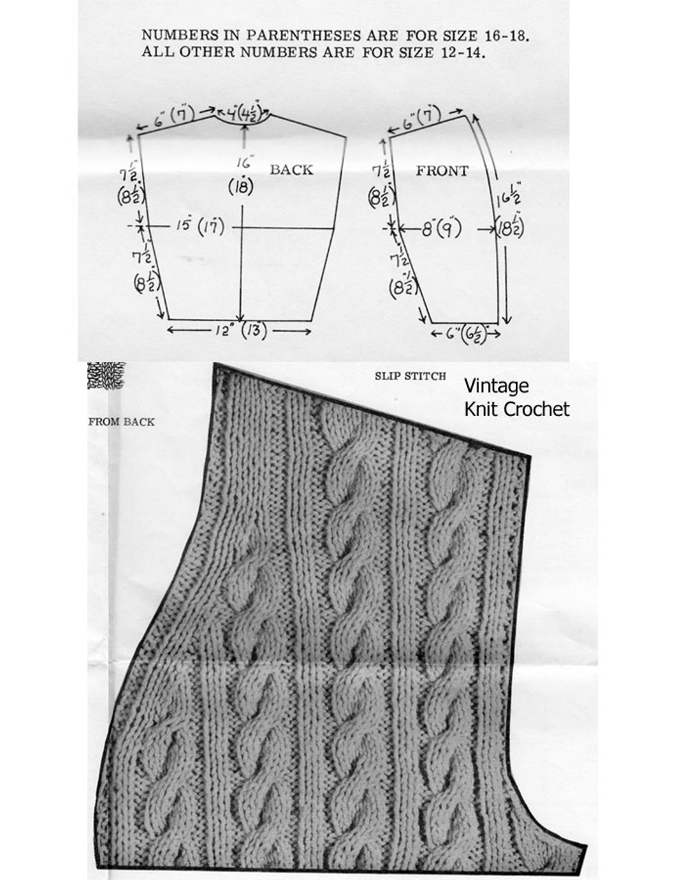 Cable Vest Knitted Pattern Stitch Illustration No 7373