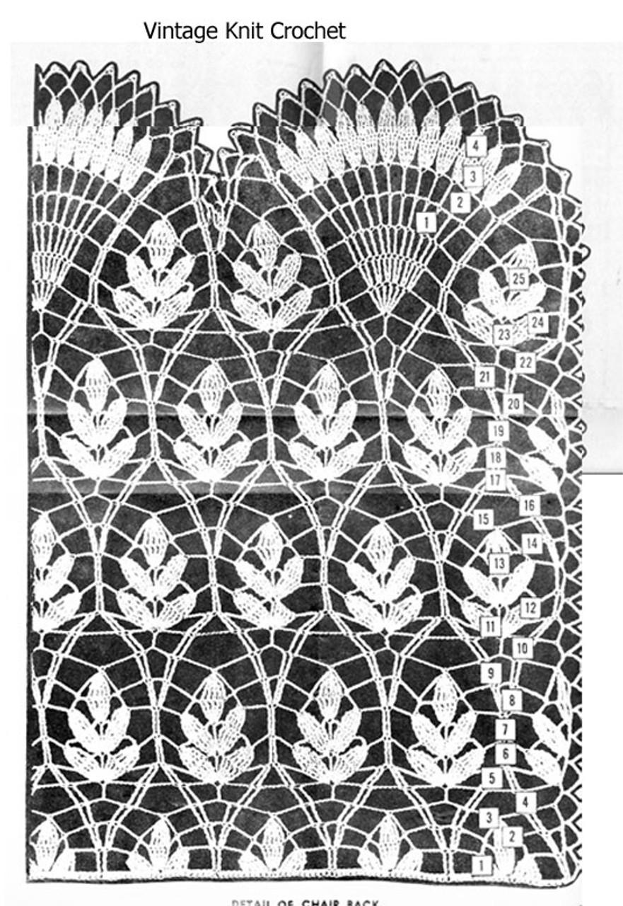Fern Scarf Crochet Pattern Stitch Illustration, American Weekly 3133