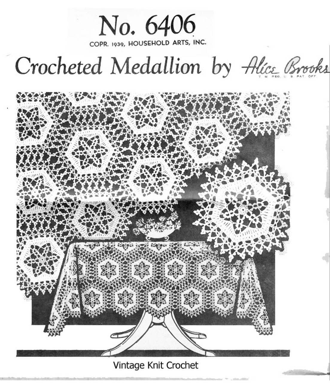 Crochet Star Tablecloth Medallion Pattern, Alice Brooks 6406