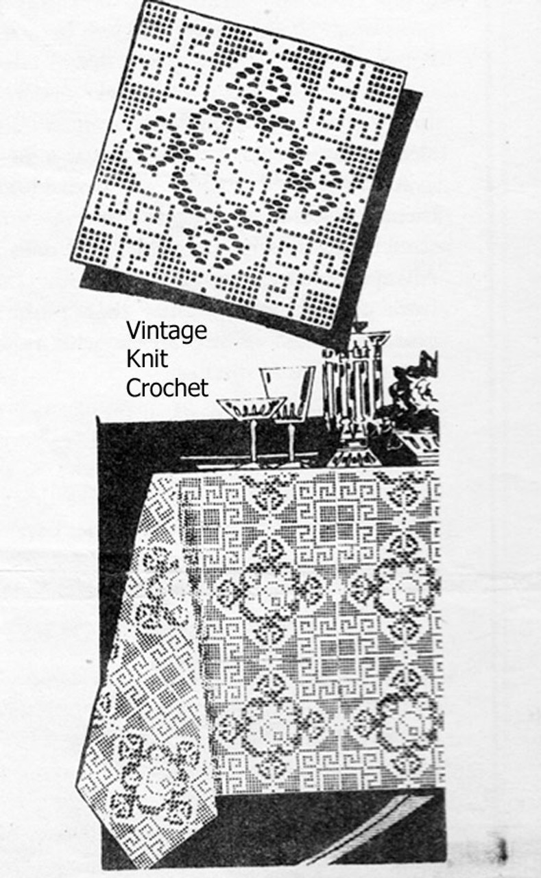 Rose Bedspread Filet Crochet Square Pattern, Design 3163