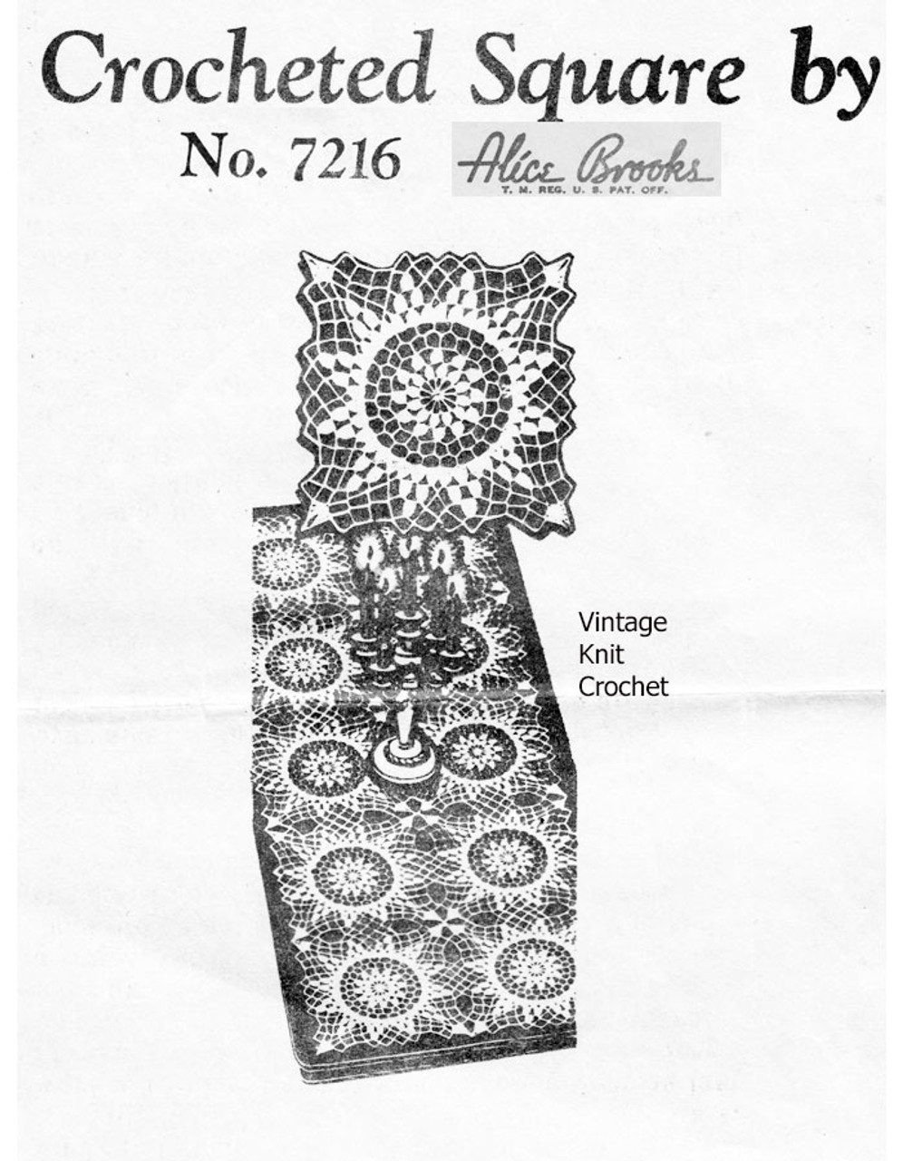 Crochet Bedspread Square Pattern, Alice Brooks 7216