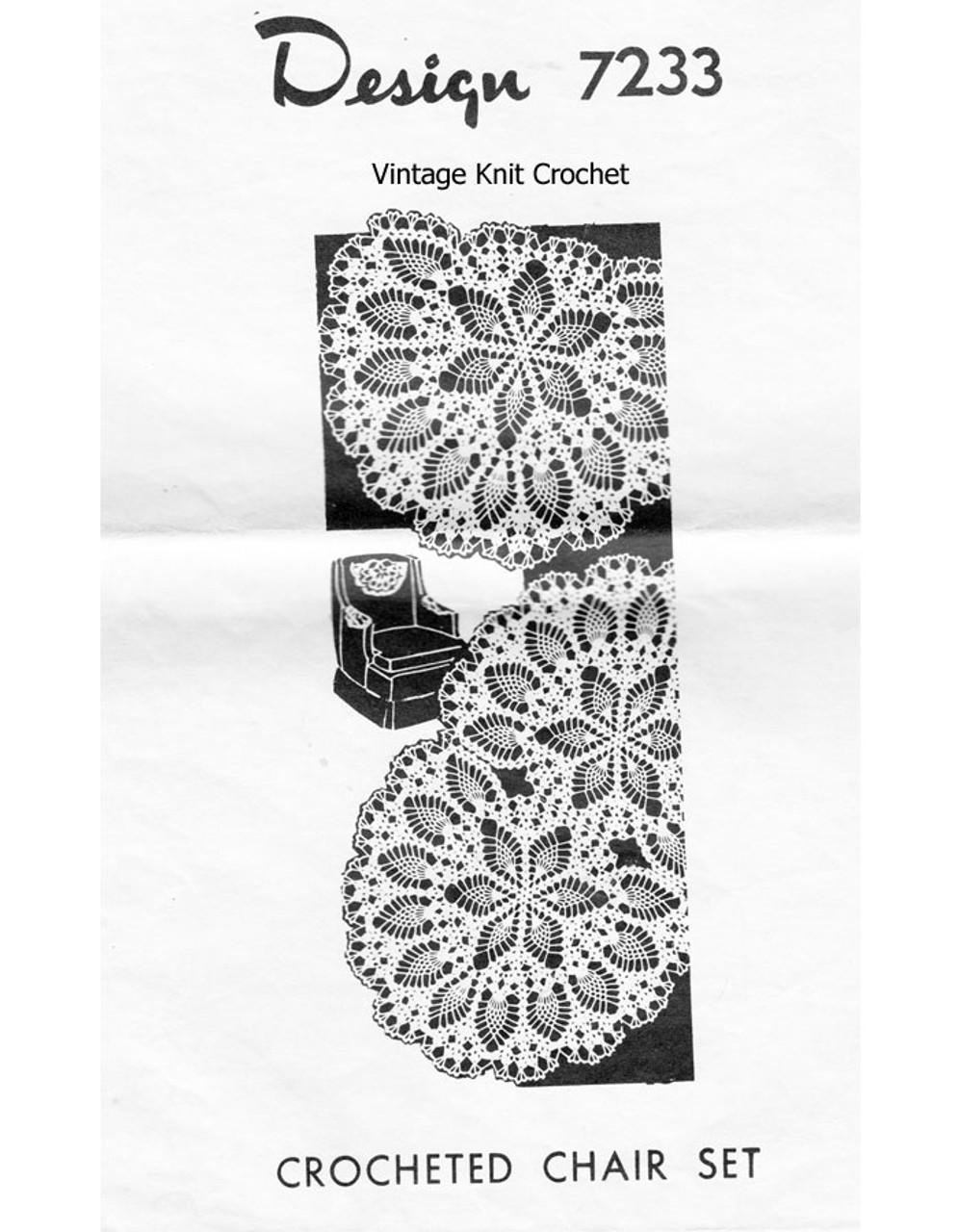Crochet Doily, Pineapple Chair Set Design 7233