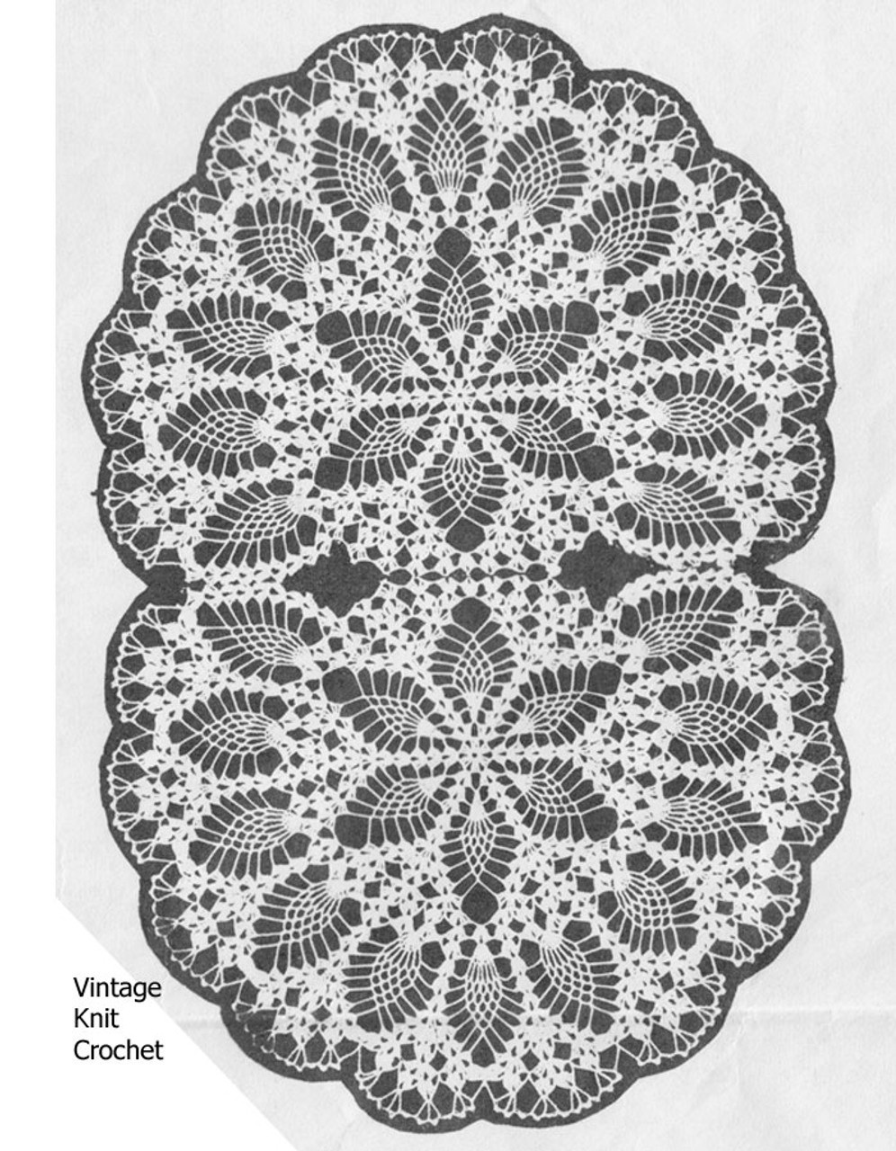 Oval Doily Pattern, Two joined chairbacks Design 7233
