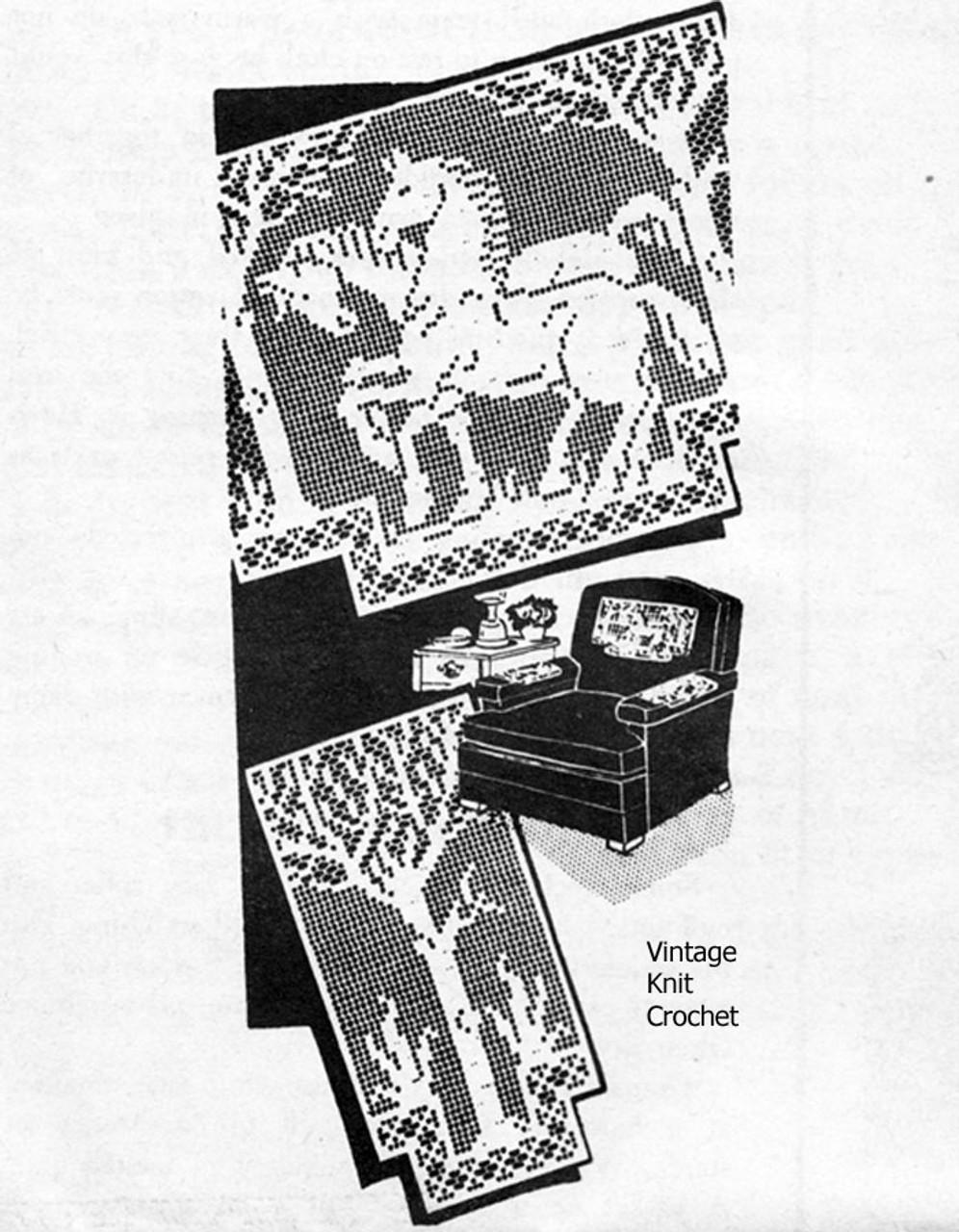 Vintage Filet Crochet Chair Set Pattern, Prancing Horses Laura Wheeler