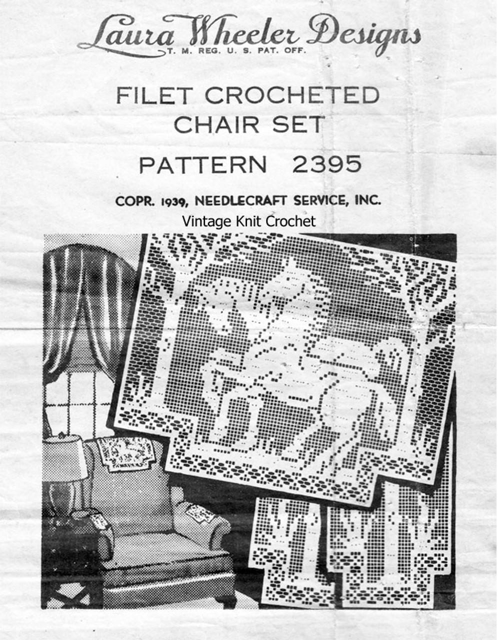 Vintage Filet Crochet Prancing Stallions Pattern laura wheeler 2395
