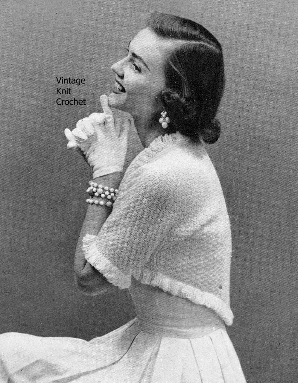 Vintage Knitted Shrug Pattern, Loop Stitch Trim
