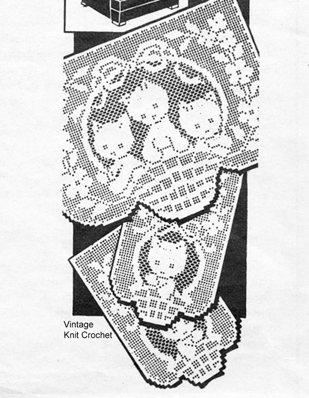 Vintage Kittens Filet Crochet Pattern, Chair Set, American Weekly 3155