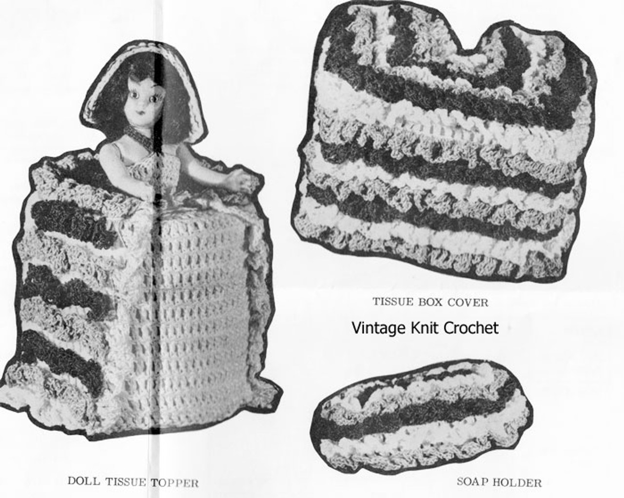 Ruffled Crochet Tissue Cover Pattern, Alice Brooks 7045