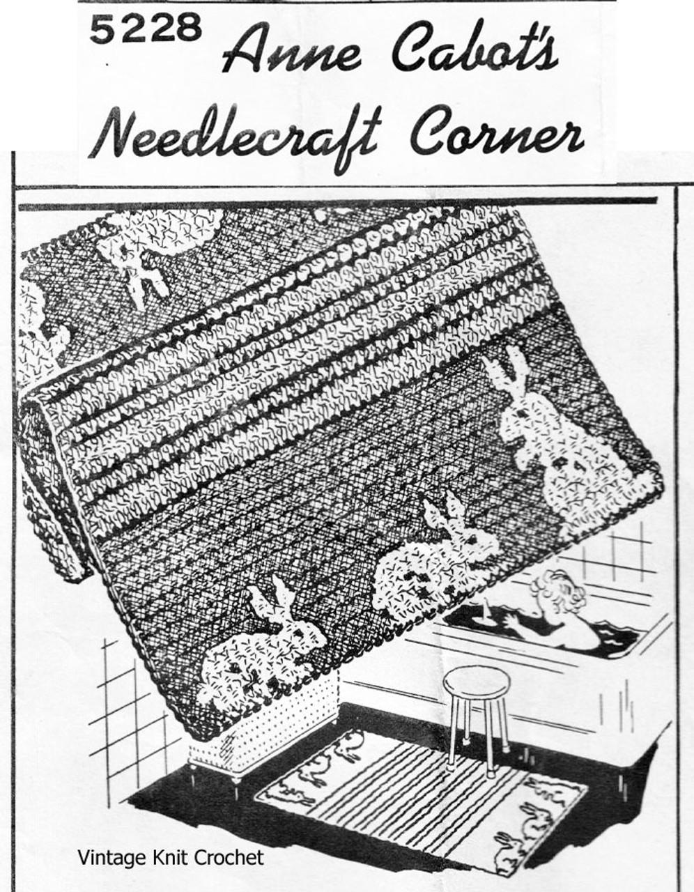 Crochet Bathroom, Nursery Rug Pattern, Bunny, Anne Cabot 5228
