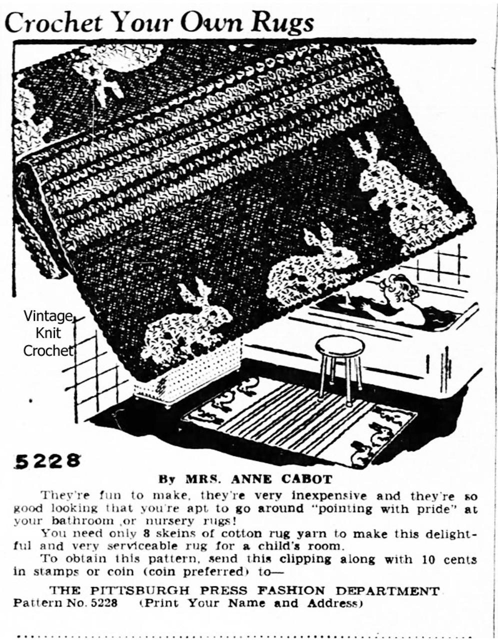 Anne Cabot Crochet Bunny Rug Pattern Advertisement