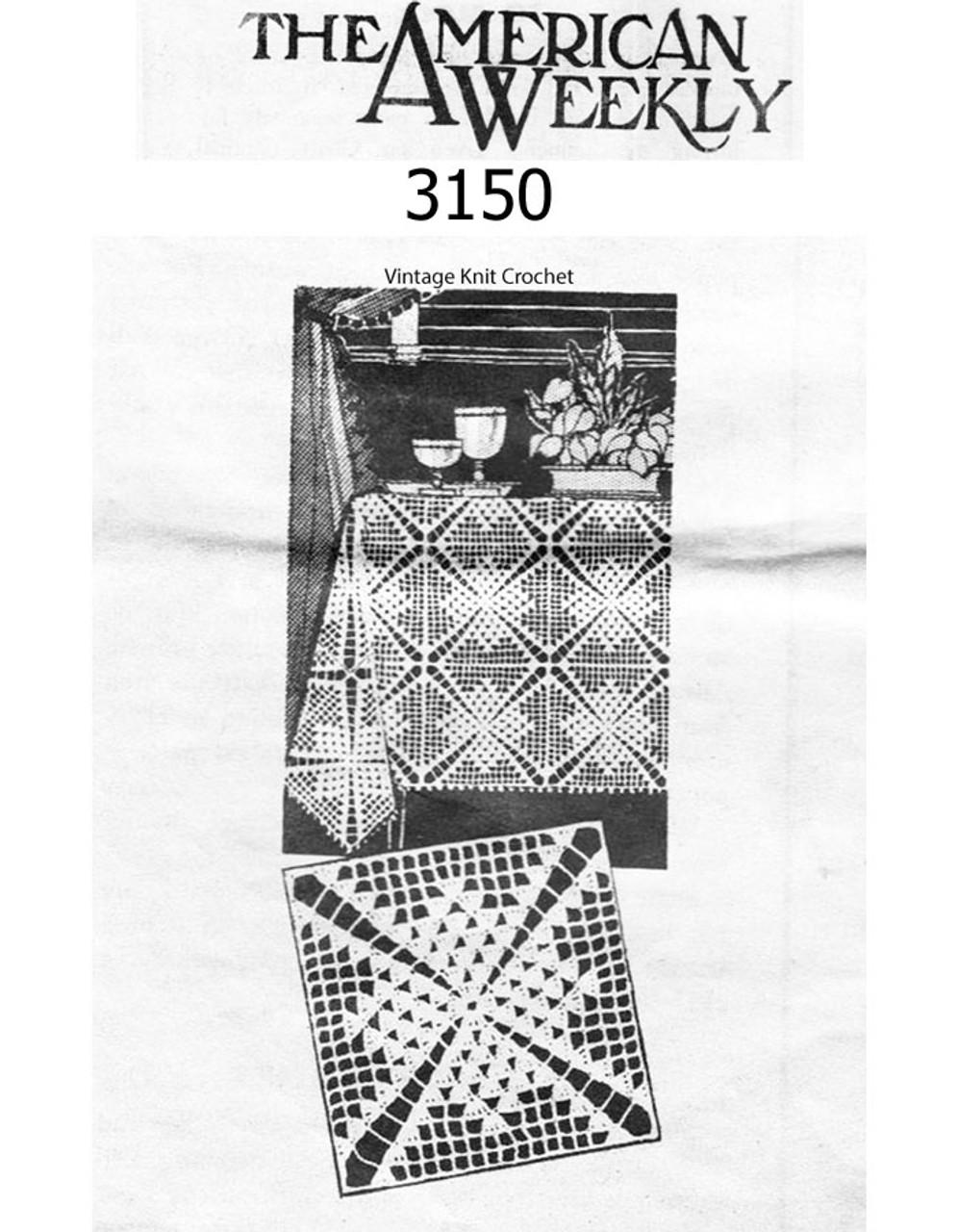 Vintage Crochet Scarf Square Pattern, Design 3150