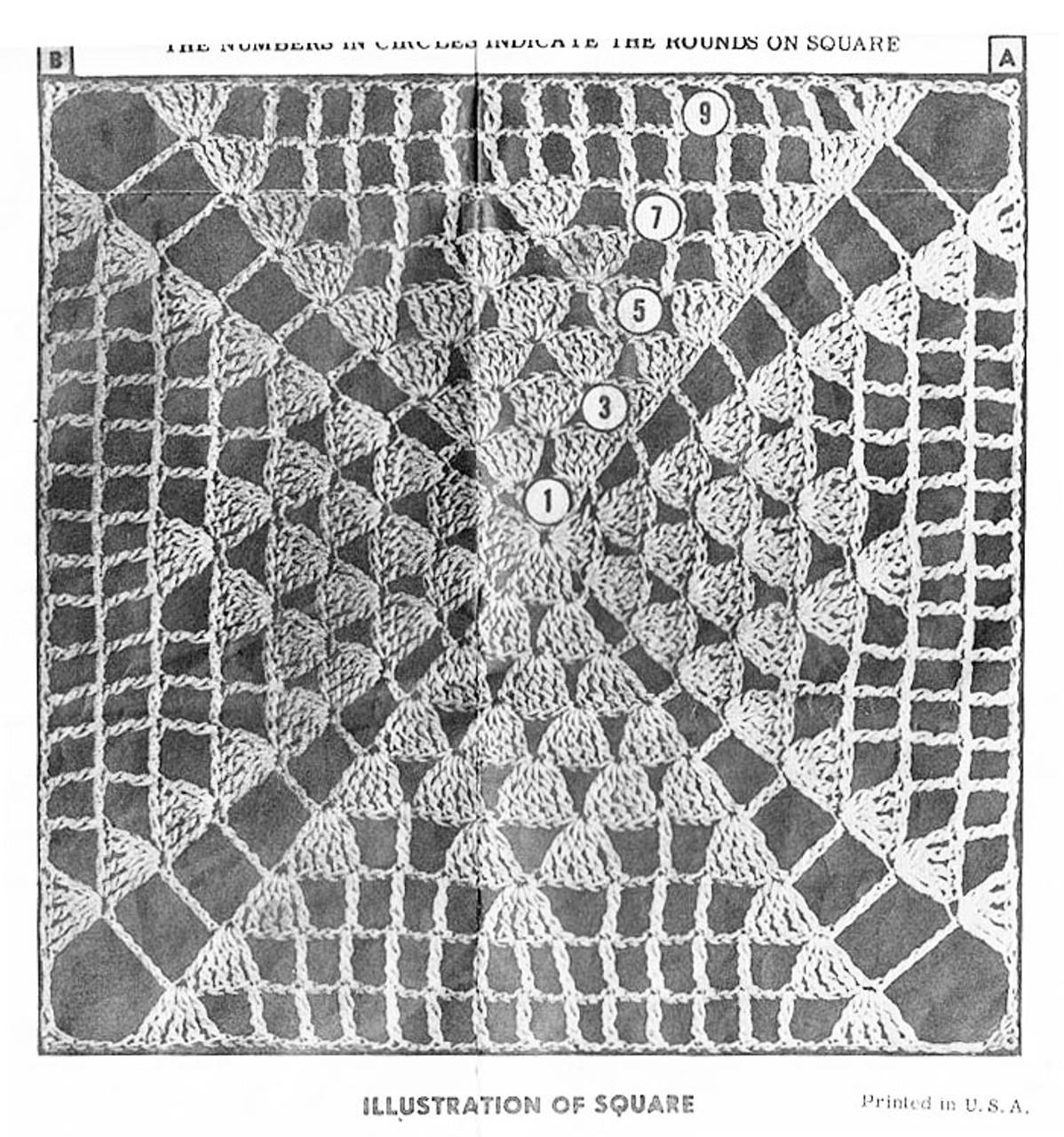 Easy crochet diamond square pattern illustration, Design 3150