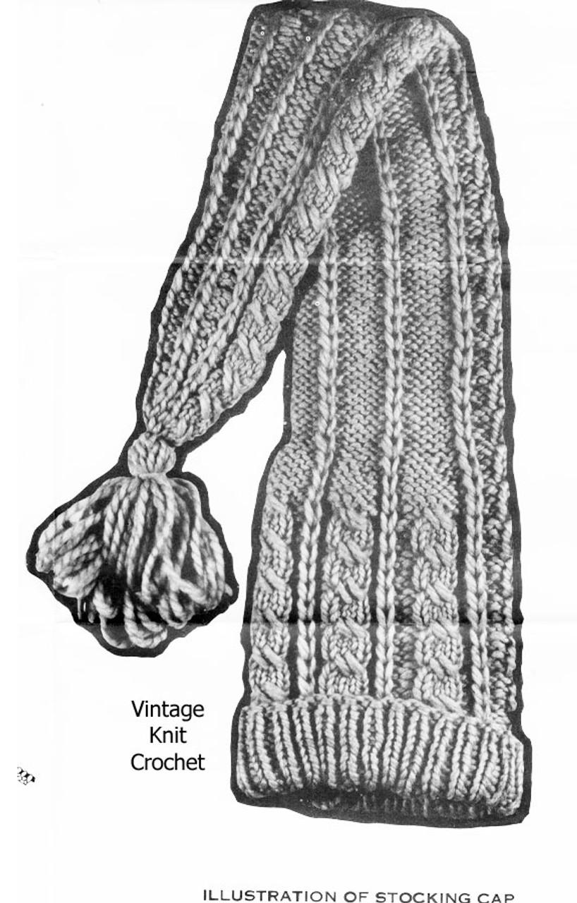 Childs Stocking Cap Knitting Pattern Illustration for Design 7003