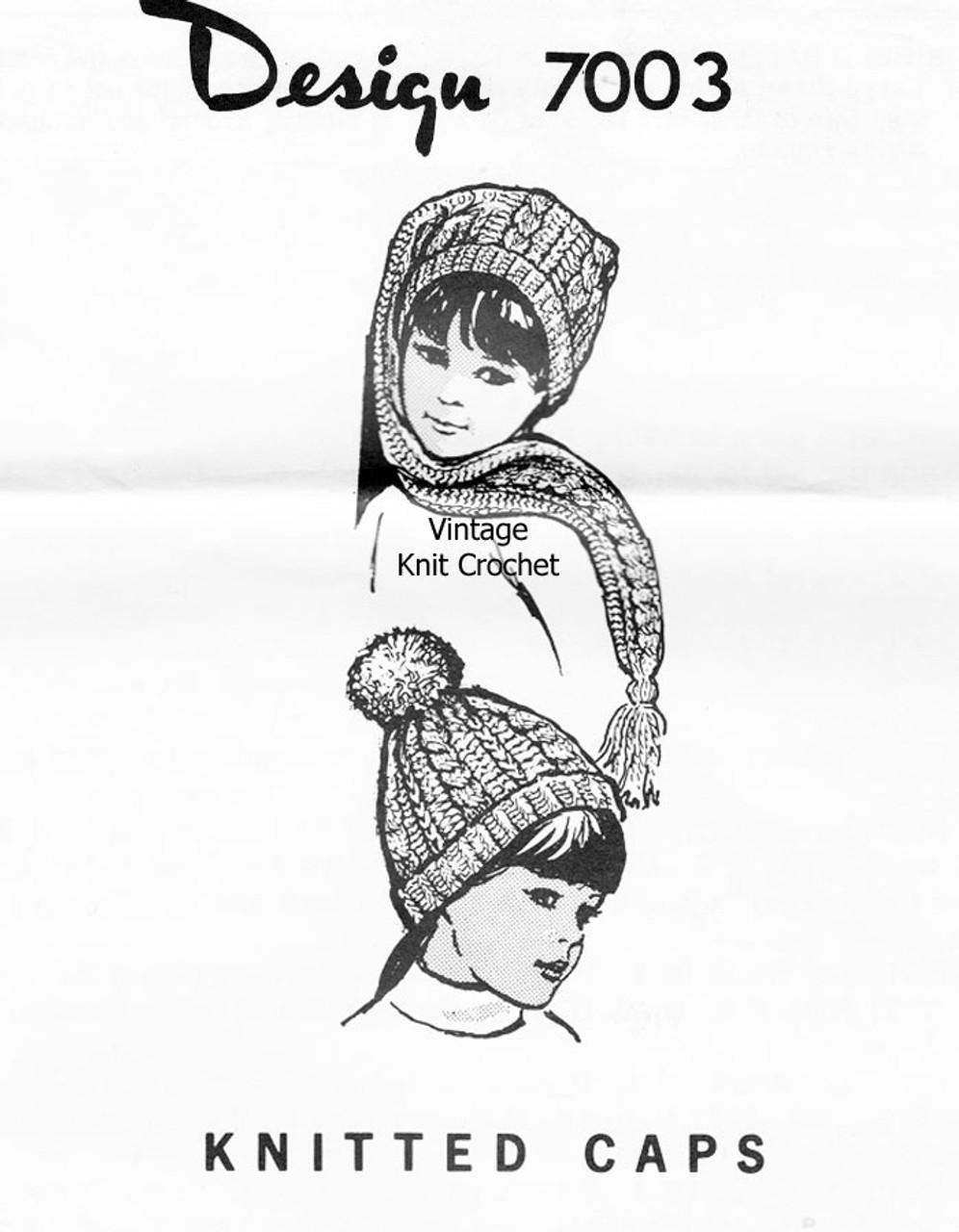 Childs Knitted Beanie Cap Pattern, Design 7003