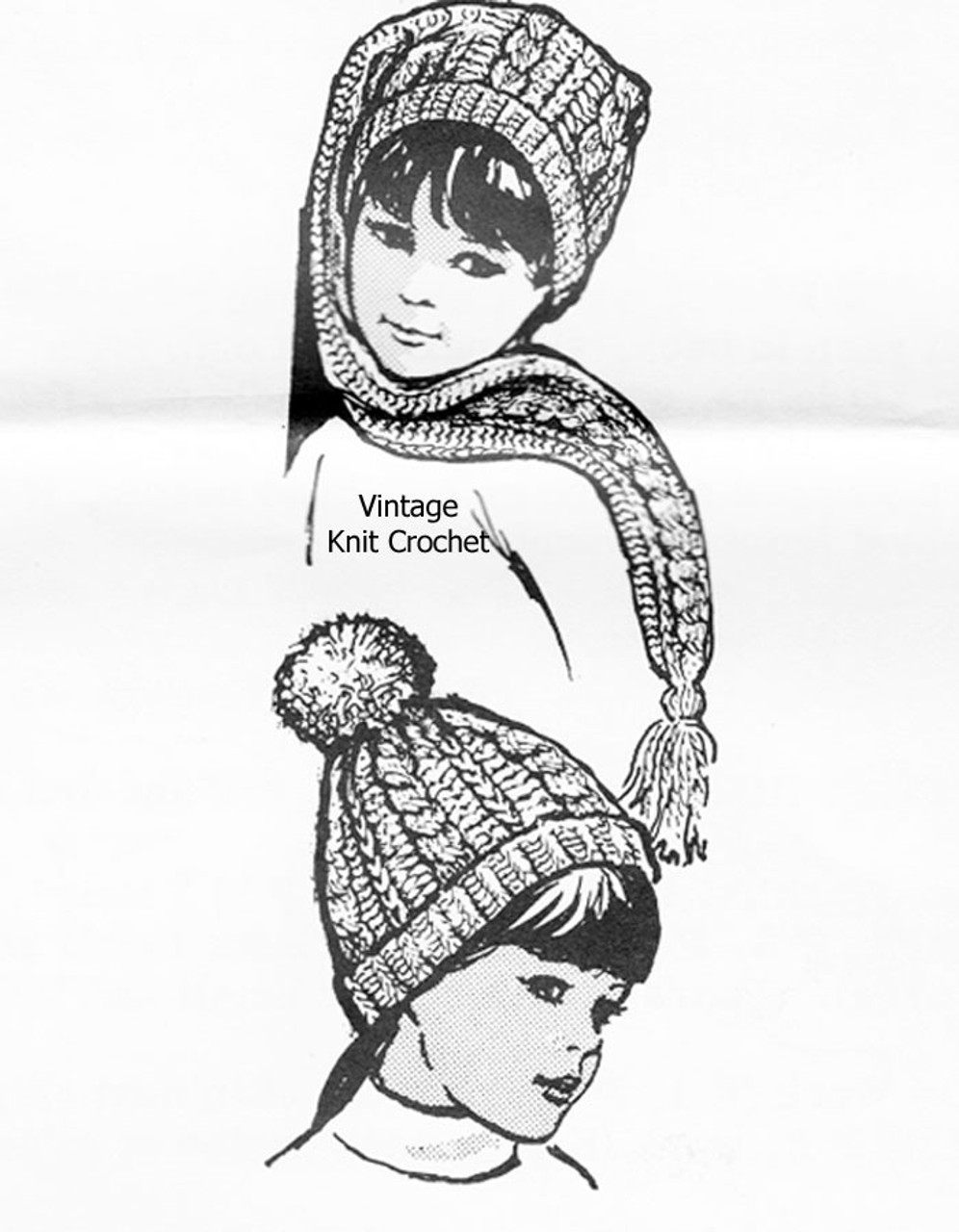 Knitted Childs Stocking Cap Pattern, Alice Brooks 7003