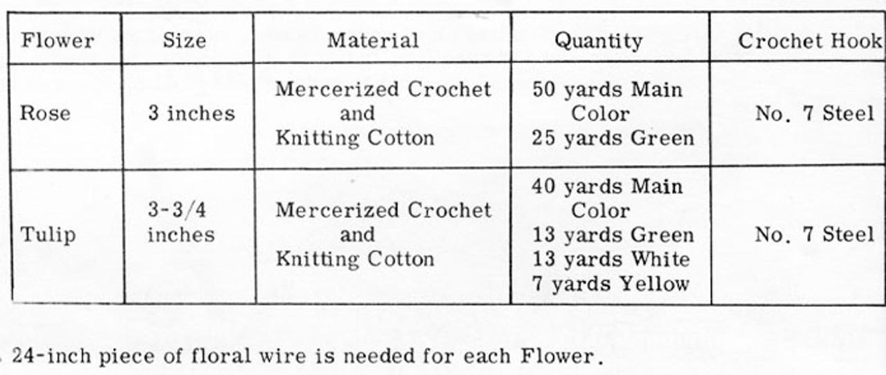 Crochet Flowers, Rose Tulip Design 654